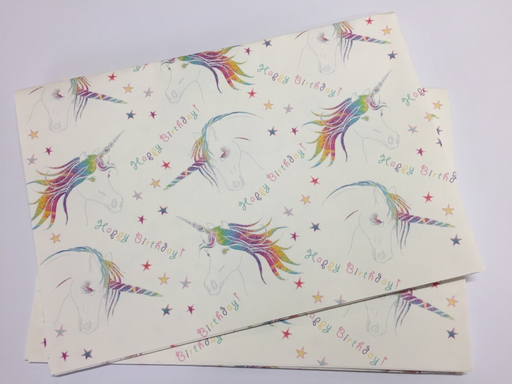 GREETING CARDS WRAPPING PAPER Happy Birthday Unicorn Gift Wrap