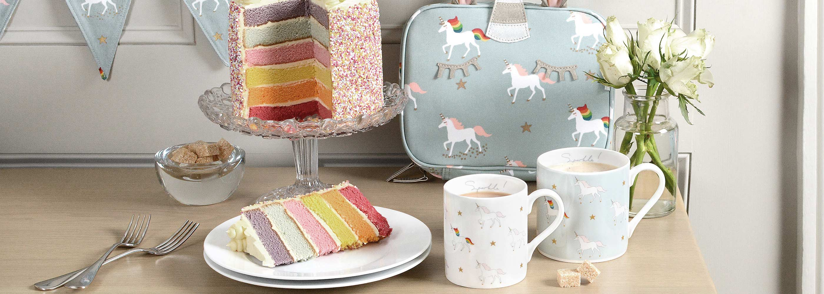 A selection of Sophie Allport design gifts including mugs and lunch bag