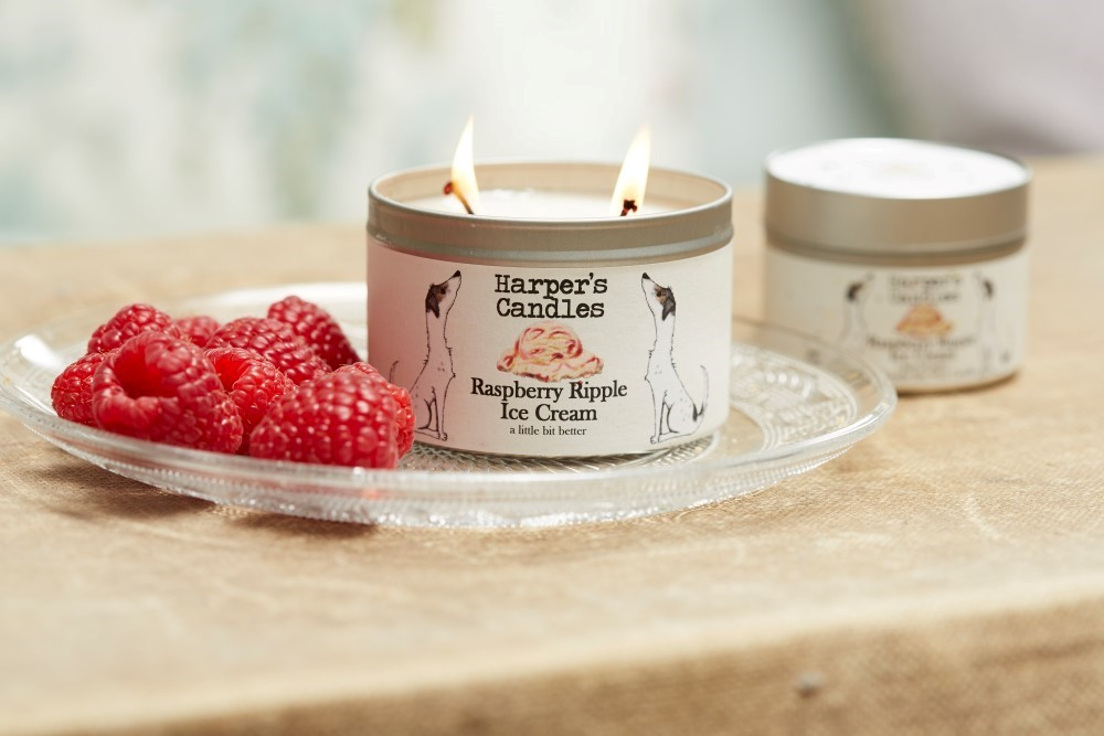 Raspberry Ripple candle (large)